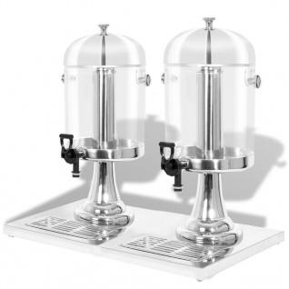 vidaXL Getränkespender 2-fach Edelstahl 2 x 8 Liter - Vorschau 1