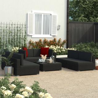 vidaXL 7-tlg. Garten-Lounge-Set Schwarz mit Auflagen Poly Rattan