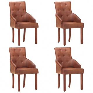 vidaXL Esszimmerstühle 4 Stk. Braun Echtes Ziegenleder