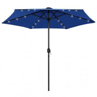 vidaXL Sonnenschirm mit LED-Leuchten & Aluminium-Mast 270 cm Azurblau