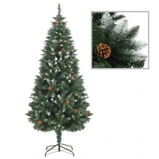 vidaXL Künstlicher Weihnachtsbaum Kiefernzapfen Weißem Glitzer 180 cm