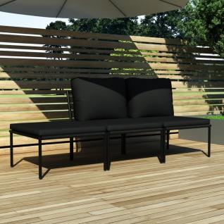 vidaXL 3-tlg. Garten-Lounge-Set mit Auflagen Schwarz PVC
