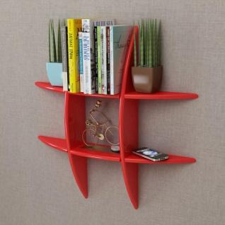 MDF Hängeregal Wandregal Wandboard Bücher/DVD Regal, rot