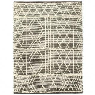 vidaXL Teppich Handgewebt Wolle 140×200 cm Schwarz/Weiß - Vorschau 2