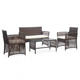 vidaXL 4-tlg. Garten-Lounge-Set mit Auflage Poly Rattan Braun