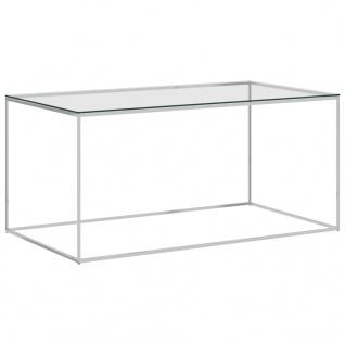 vidaXL Couchtisch Silbern 90x50x43 cm Edelstahl und Glas