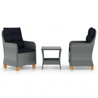 vidaXL 3-tlg. Garten-Lounge-Set mit Auflagen Poly Rattan Hellgrau - Vorschau 1