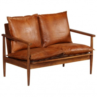 Vidaxl 2 Sitzer Sofa Leder Mit Akazienholz Braun Kaufen Bei Vida