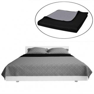Zweiseitige Steppdecke Bettüberwurf Tagesdecke Schwarz/Grau 230x260cm