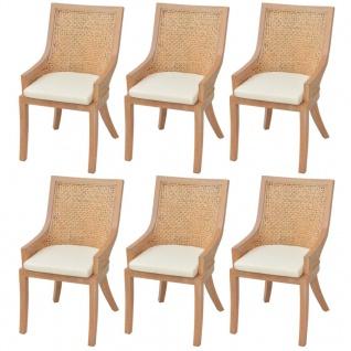 vidaXL Esszimmerstühle 6 Stk. Rattan und Mango Massivholz