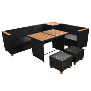 vidaXL 7-tlg. Garten-Lounge-Set mit Auflagen Poly Rattan Schwarz - Vorschau 5