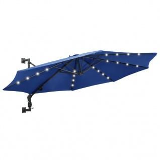 vidaXL Sonnenschirm Wandmontage mit LEDs Metallmast 300 cm Blau