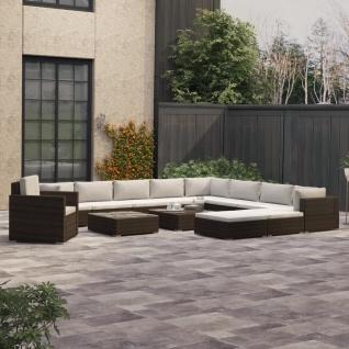 vidaXL 13-tlg. Garten-Lounge-Set mit Auflagen Poly Rattan Braun