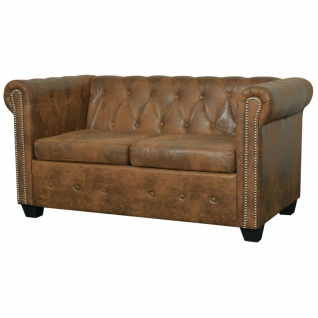 vidaXL Chesterfield Sofa 2-Sitzer Kunstleder Braun