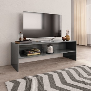 vidaXL TV-Schrank Hochglanz-Grau 120 x 40 x 40 cm Spanplatte
