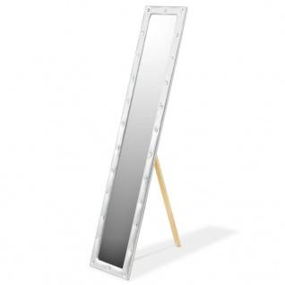 vidaXL Standspiegel Kunstleder 30 x 150 cm Silbern Glänzend