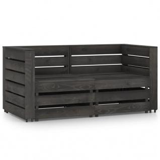 vidaXL 2-Sitzer-Gartensofa Grau Imprägniertes Kiefernholz
