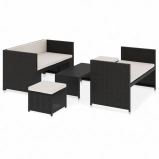vidaXL 5-tlg. Garten-Lounge-Set mit Auflagen Poly Rattan Schwarz - Vorschau 2