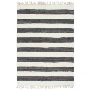 vidaXL Handgewebter Chindi-Teppich Baumwolle 200x290cm Anthrazit Weiß