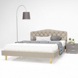 vidaXL Bett mit Memory-Schaum-Matratze 140 x 200 cm Textilgewebe Beige