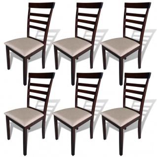 vidaXL Esszimmerstühle 6 Stk. Braun und Creme Massivholz und Stoff