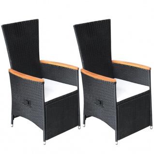vidaXL Garten-Liegestühle 2 Stk. mit Auflagen Poly Rattan Schwarz