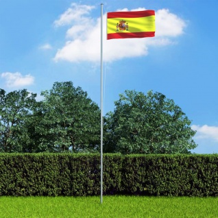 vidaXL Flagge Spaniens und Mast Aluminium 6, 2 m