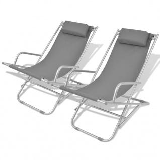 vidaXL Liegestühle 2 Stk. Stahl Grau
