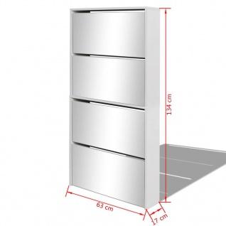 vidaXL Schuhschrank mit 4 Fächern Spiegel Weiß 63×17×134 cm - Vorschau 5