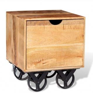 vidaXL Beistelltisch mit Schublade und Rädern Mangoholz 40x40x45 cm