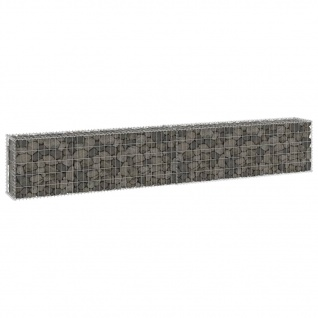 vidaXL Gabionenwand mit Abdeckung Verzinkter Stahl 300x30x50 cm