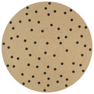 vidaXL Teppich Handgefertigt Jute mit Punktmuster 120 cm