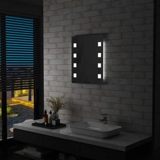 vidaXL Badezimmer-Wandspiegel mit LED 50 x 60 cm