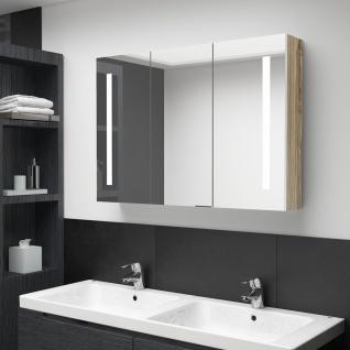 vidaXL LED-Bad-Spiegelschrank 89x14x62 cm Weiß und Eiche-Optik