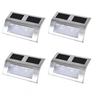 4 Stück Solar Treppen Lampe 2 LED Wandleuchte Solarlampe