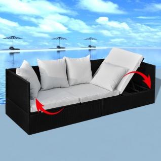 vidaXL Garten-Sofabett mit Auflage und Kissen Schwarz