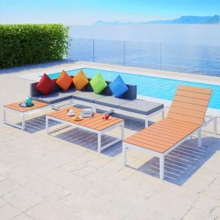 vidaXL 5-tlg. Garten-Lounge-Set mit Auflagen Aluminium und WPC