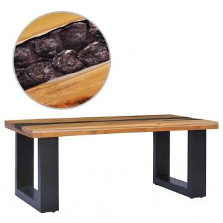 vidaXL Couchtisch 100 x 50 x 40 cm Massivholz Teak und Polyresin