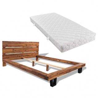 vidaXL Bett mit Matratze Akazienholz Massiv 140 x 200 cm