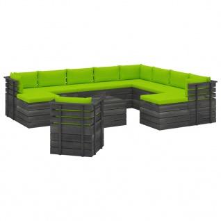 vidaXL 12-tlg. Garten-Sofagarnitur aus Paletten mit Kissen Kiefernholz
