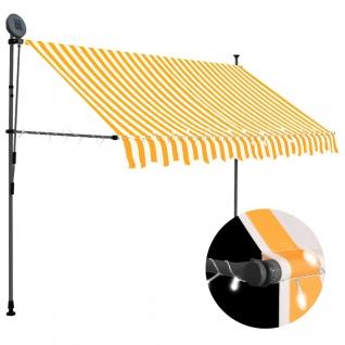 vidaXL Einziehbare Markise Handbetrieben mit LED 250 cm Weiß Orange
