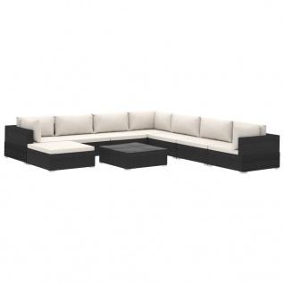 vidaXL 9-tlg. Garten-Lounge-Set mit Auflagen Poly Rattan Schwarz - Vorschau 2