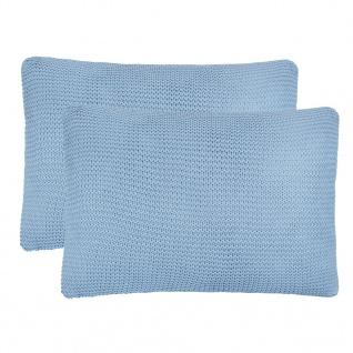 vidaXL Kissen 2 Stk. Grobgestrickte Baumwolle 60 x 40 cm Hellblau