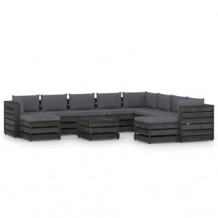 vidaXL 11-tlg. Garten-Lounge-Set mit Kissen Grau Imprägniertes Holz