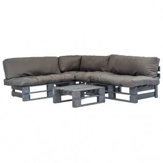 vidaXL 4-tlg. Garten-Lounge-Set Paletten Graue Auflagen Holz - Vorschau