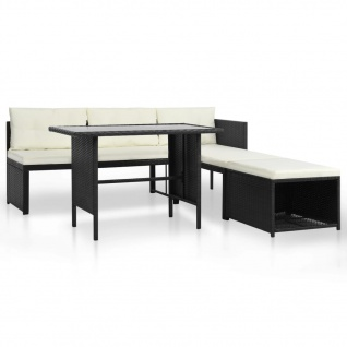 vidaXL 4-tlg. Garten-Lounge-Set Poly Rattan Schwarz