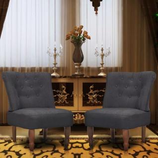 vidaXL Französischer Stuhl 2 Stk. Stoff Grau