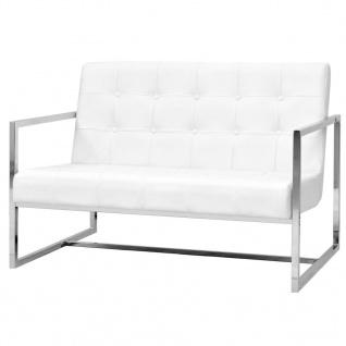 vidaXL 2-Sitzer-Sofa mit Armlehnen Kunstleder und Stahl Weiß