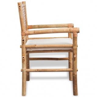 vidaXL Bistro-Set mit Beistelltisch und Sitzkissen Bambus - Vorschau 5