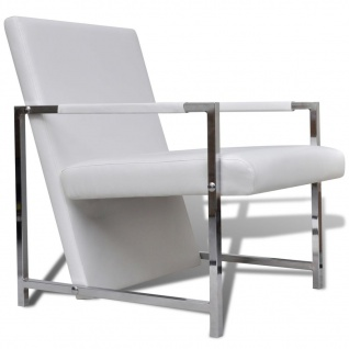 vidaXL Sessel 2 Stk. Verchromtes Gestell Weiß Kunstleder - Vorschau 3